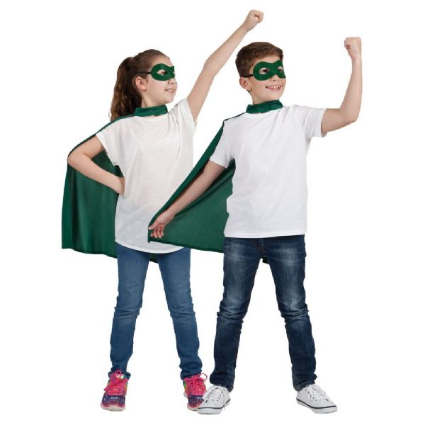 Childs Super Hero Cape & Mask - Green